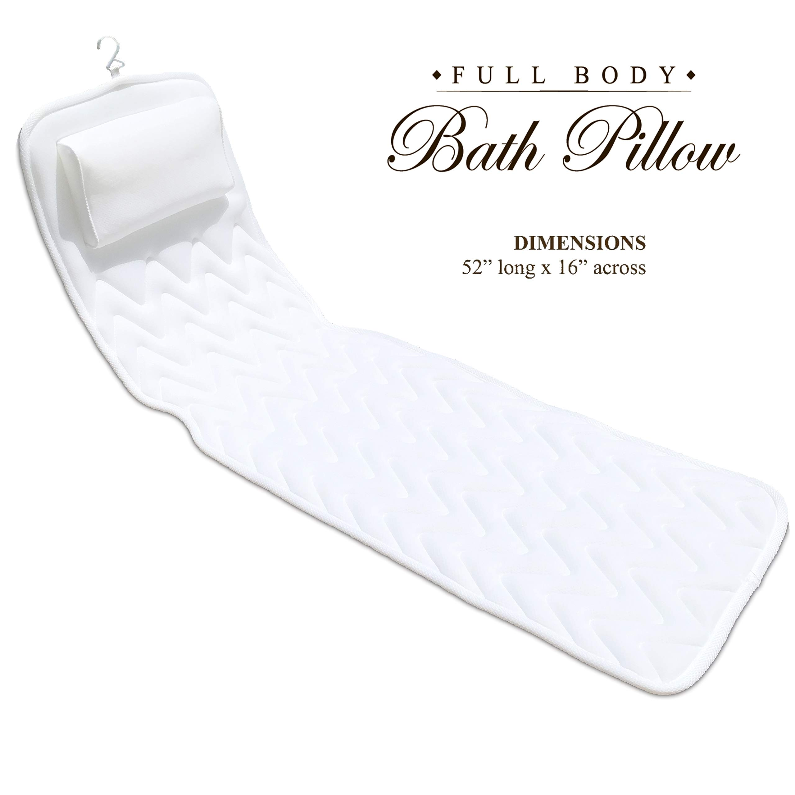 BathLife Full Body Bath Pillow - Plush Quilted Bathtub Mat with 3D Air Mesh Technology, Longer and Wider, Modern and Flexible, Care and Store with Ease!