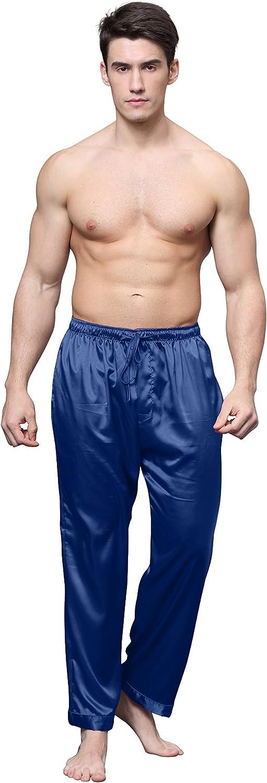 Tony /& Candice Mens Satin Pajama Pants Long PJ Bottoms
