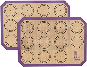 Non Stick Silicone Baking Mats Set Quarter Sheet Macaron - 2 Small Toaster Oven Silicon Baking Liners For Cookies and Bread Making,8.2