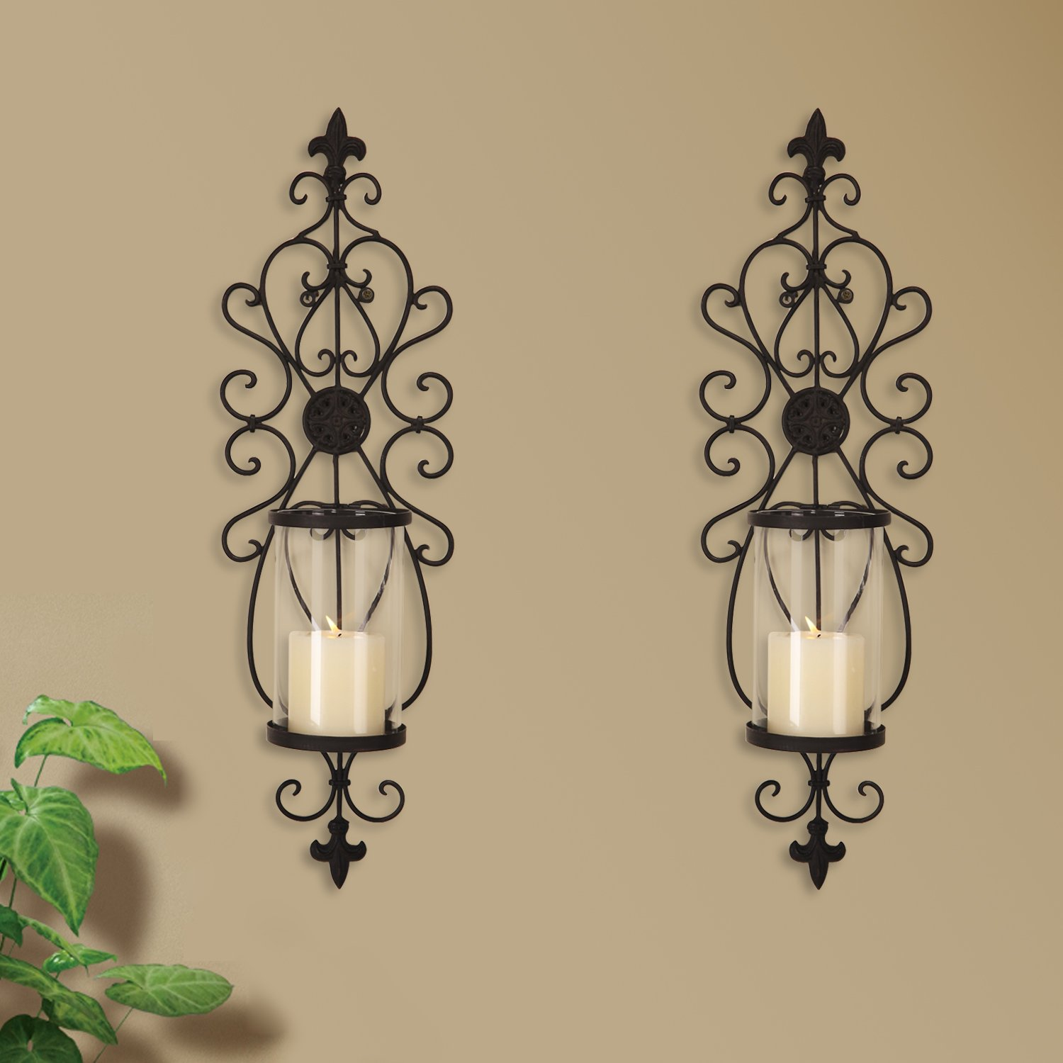 Adeco Iron and Glass Vertical Wall Hanging Scroll and Fleur De Lis Design 1 Pillar Candle Holder Sconce