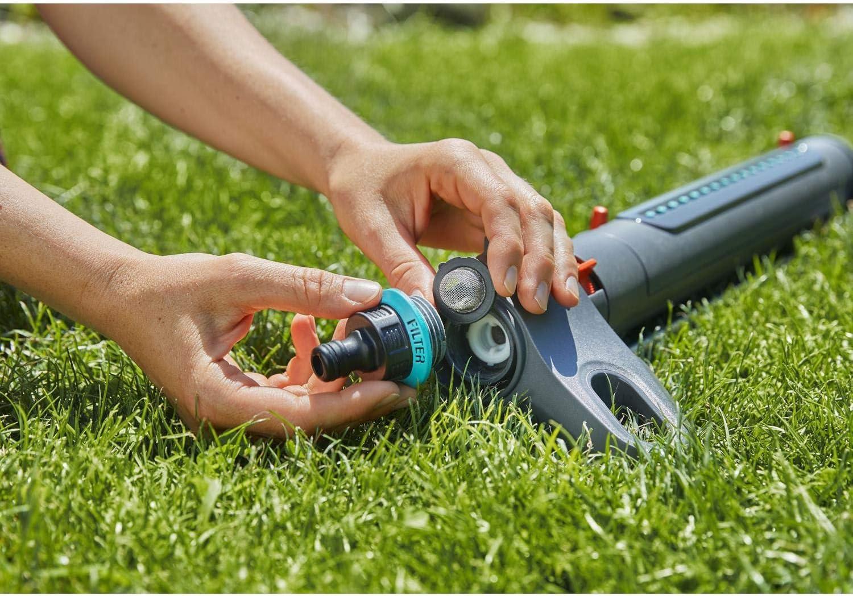 Nero//Turchese//Arancione Superficie Irrigabile: 9m/² Ampia Base 150m/² Gardena G1871020 Irrigatore Quadrato AquaZoom S