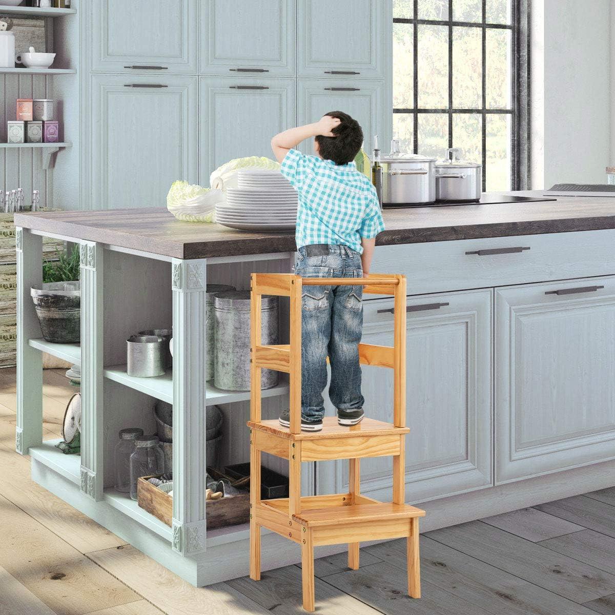 COSTWAY Torre de Aprendizaje Ayudante de Cocina Para Ni/ños Carga hasta 70kg Taburete de Madera Silla de Aprendizaje para Ni/ños