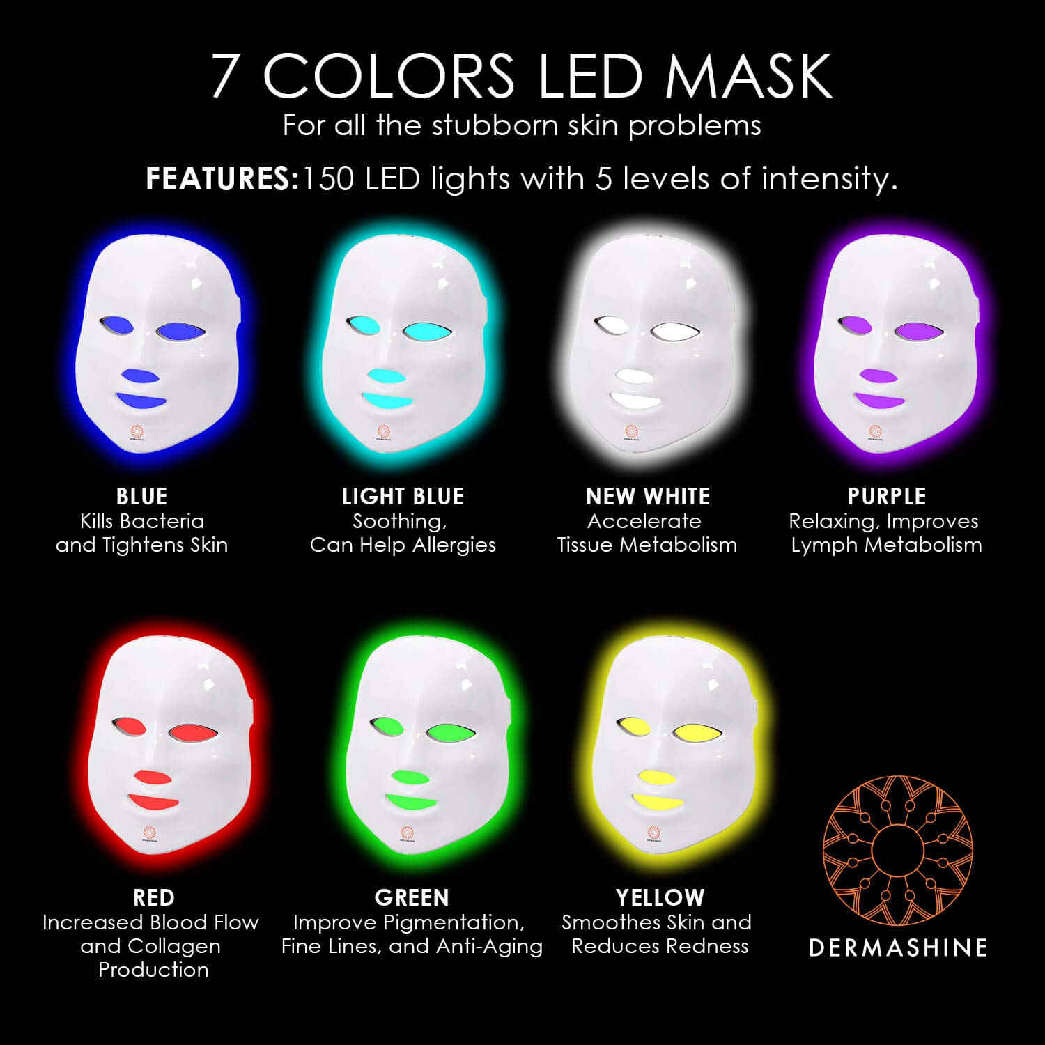 Dermashine Pro 7 Color Led Mask For Face Photon Red Light For Healthy Skin Rejuvenation Therapy Collagen Anti Aging Wrinkles Scarring Korean
