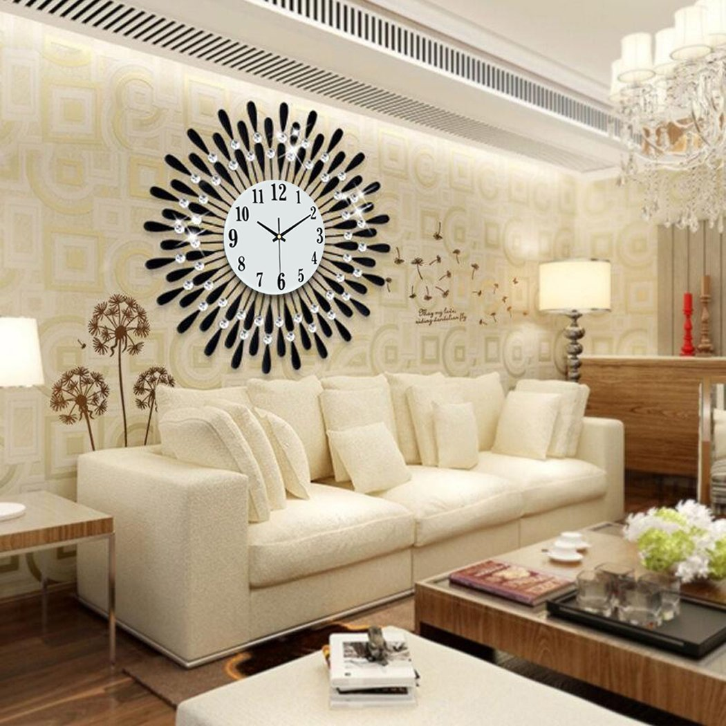 Tinksky Wall Clock Modern Living Room Clock Diamante Mute Easy To Read  Large Clocks: Amazon.co.uk: Kitchen U0026 Home