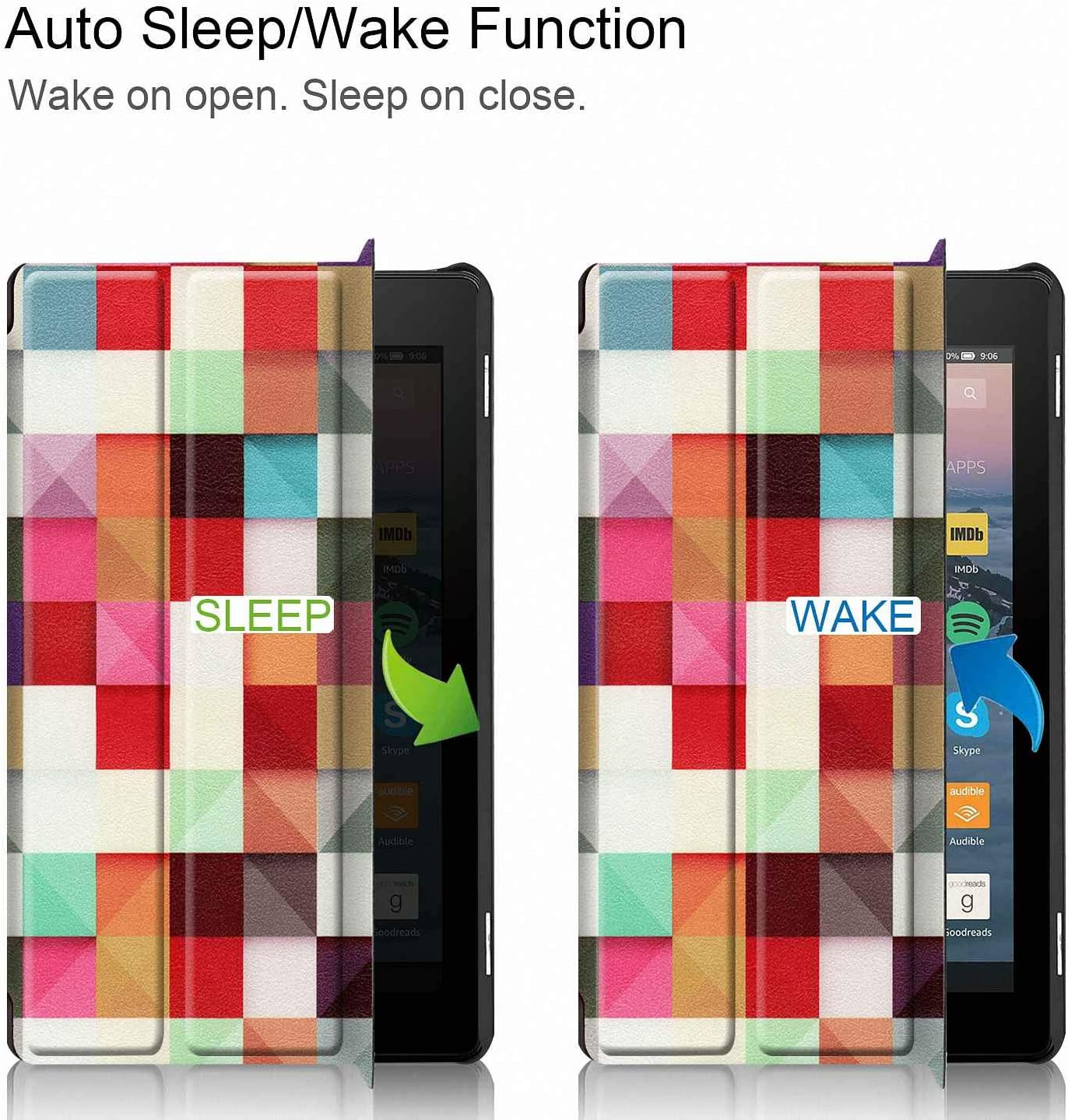 2019 All-New Fire 7 Tablet Case Femkeva Ultra Slim Stand Smart Cover with Auto Wake//Sleep for  Kindle Fire 7 Tablet Apricot Flower 9th Generation, 2019 Release