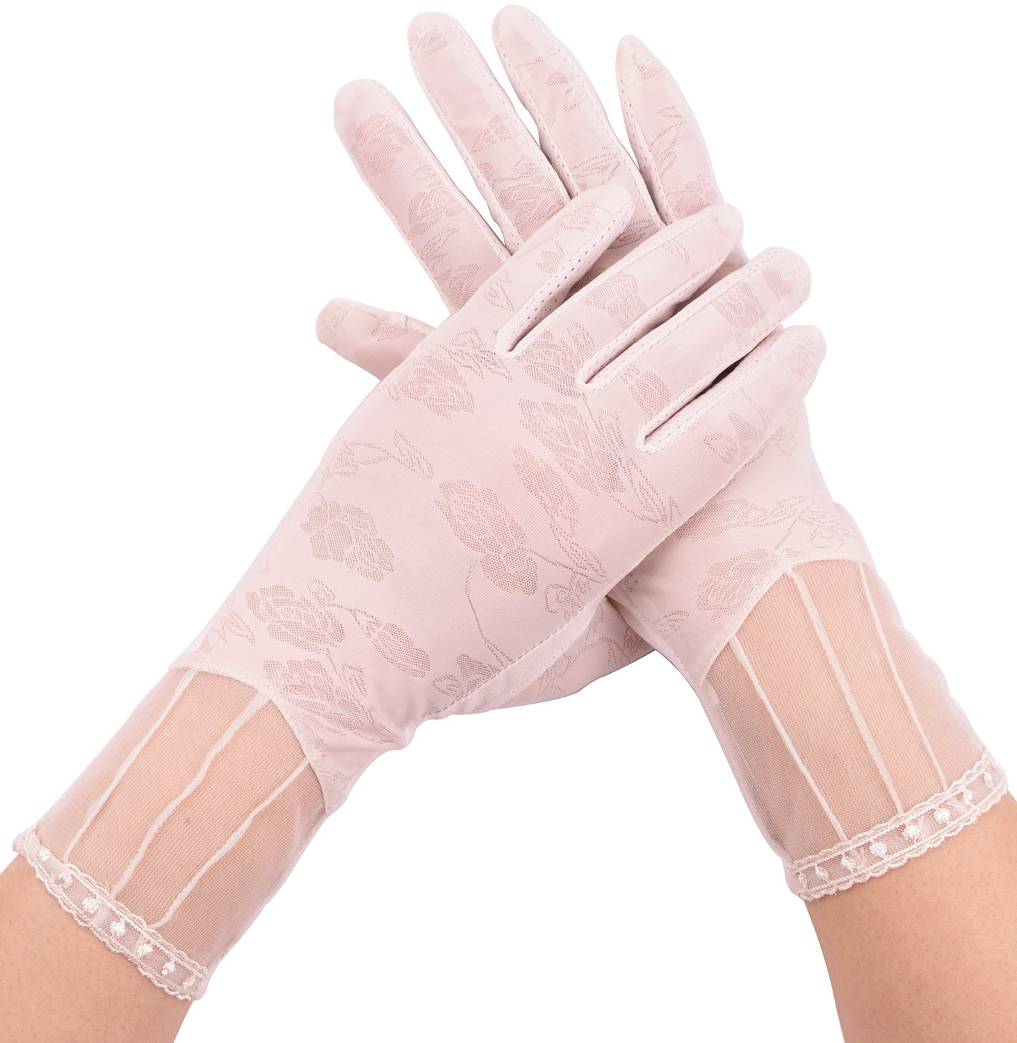 Ladies Summer Driving Gloves Lace Sunscreen Gloves Anti Skid Touchscreen Gloves Beige