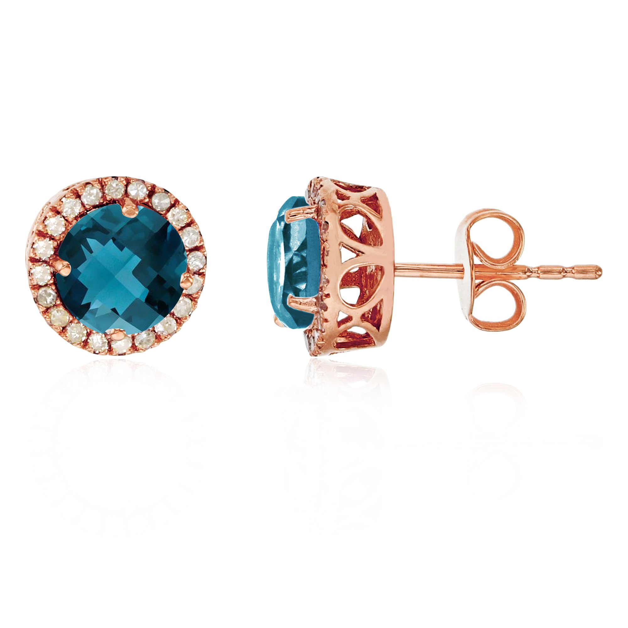 14K Rose Gold 6mm Round London Blue Topaz & 0.2 CTTW Diamond Halo Stud Earring