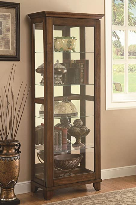 Beau Coaster Casual Warm Brown 5 Shelf Curio Cabinet With Mirrored Back