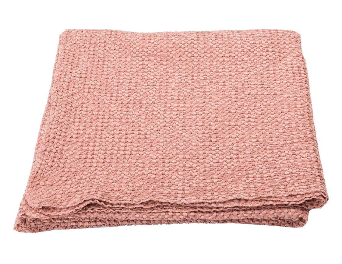 DavidFussenegger VIGO 5091 67 Waffeldecke Überwurf in rouge altrosa rose Decke Baumwolle mit Waffelmuster