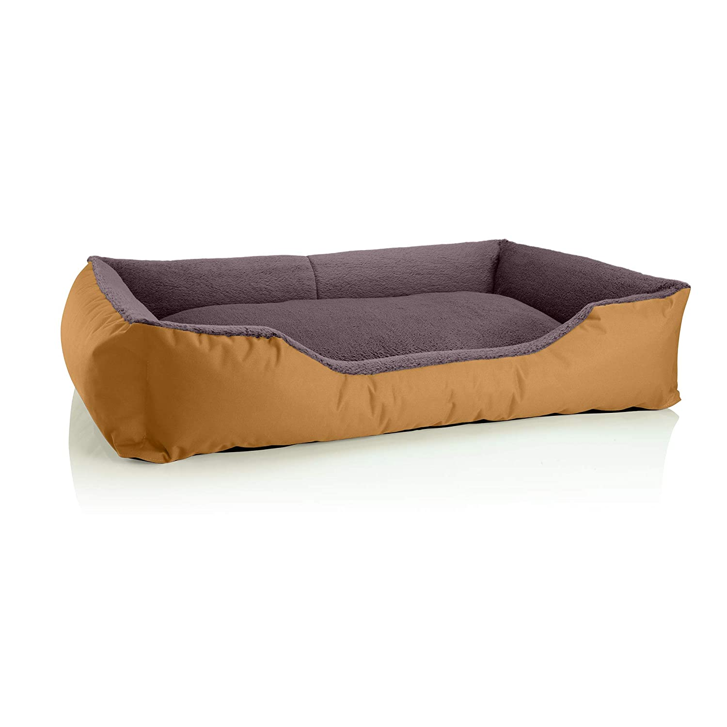 goldENBROWN (gold brown) XXXL (ca. 150x110cm)BedDog dog cat sofa TEDDY S to XXXL, 14 colours to choose, made from Cordura & Microfiber Velor, washable dog bed, dog cushion, indoor & outdoor use, size XXXL, grey grey