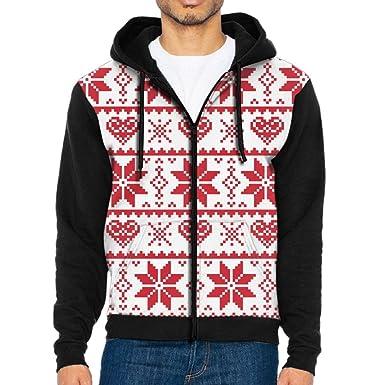 christmas red snowflakes men casual jackets pull zip hoodie jacket patterned hooded sweatshirt coat small - Christmas Jackets