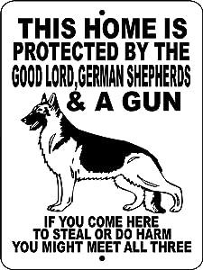 German Shepherds Dog No Trespassing Warning Gate Metal Tin Sign Poster Aluminum Sign Decor for Home Bar Diner Pub