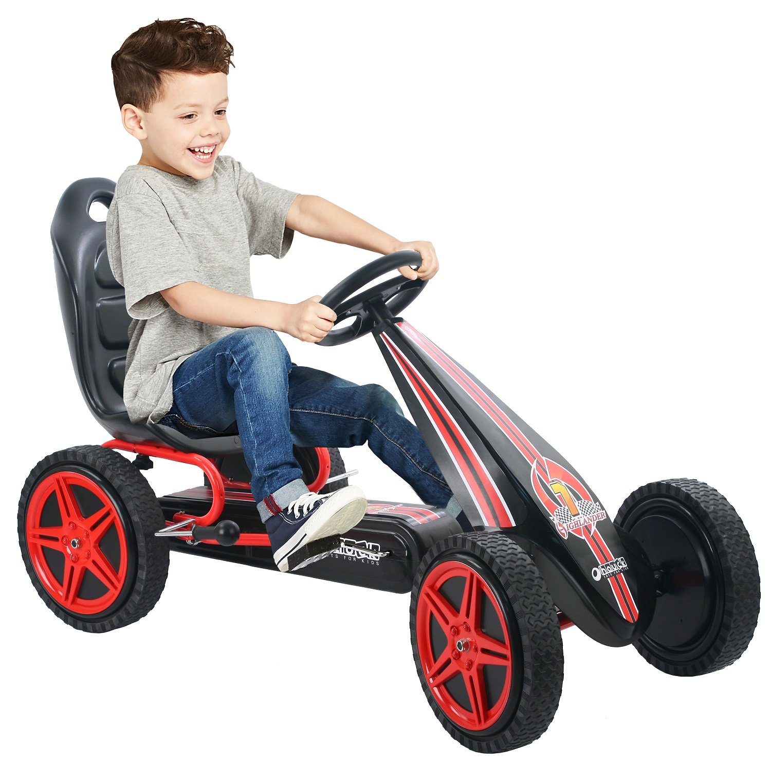 Amazon.com: Hauck Highlander Pedal Go Kart Ride On, Red/Black: Toys ...