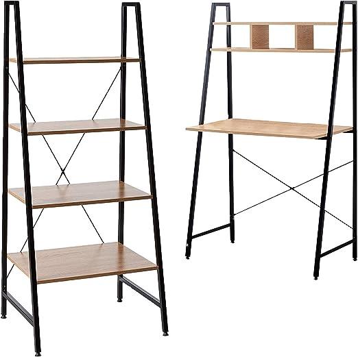Offex Combo Pack – Escritorio de madera con marco de acero negro ...