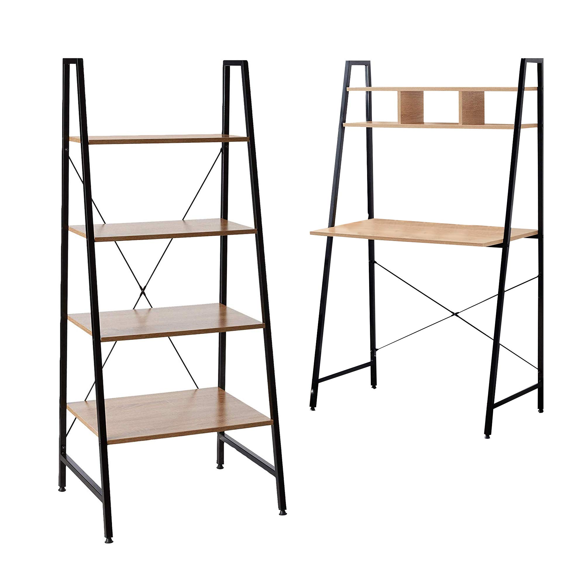 Offex Combo Pack - Black Steel Frame Ladder Style Wooden Desk with 4 Shelf Bookcase by Offex