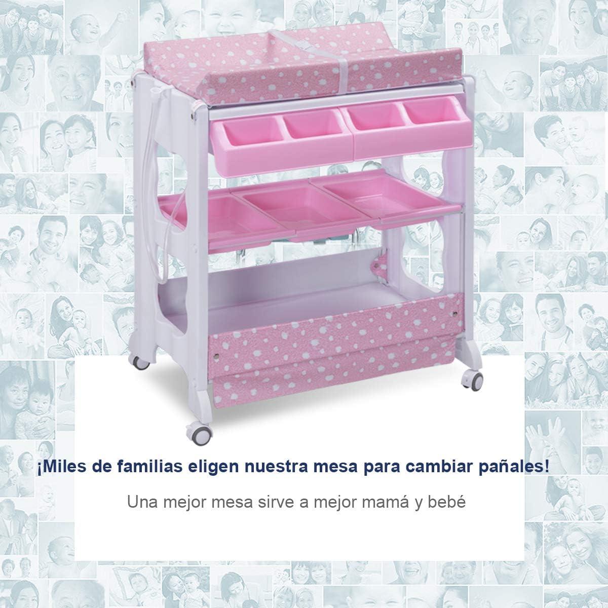 COSTWAY Cambiador de Pa/ñales Estante para Beb/é Organizador Cambiador Vestidor Ba/ñera con Bandeja Rosa