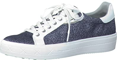 Schuhe 1-1-23629-37 Damen Sneaker, Schnürer, Halbschuhe, Sommerschuhe für Modebewusste Frau, Metallic, Grau (Silv.Glam Comb), EU 36 Tamaris