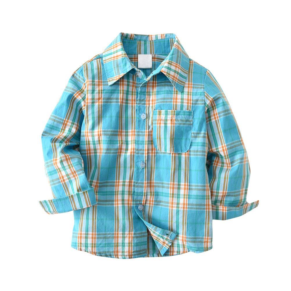 SNOW DREAMS Boys Plaid Button Down Shirt Turn-Down Collar Long Sleeve Cotton Tops BOY04