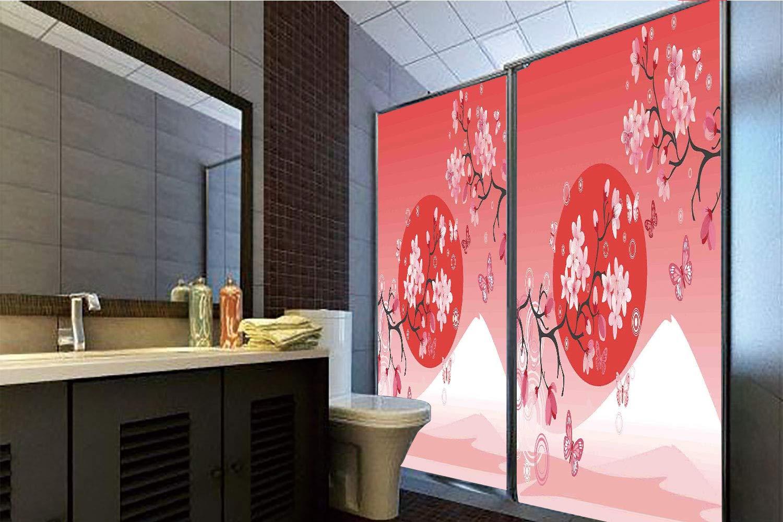 Horrisophie dodo 糊不要 静電気でくっつくガラスステッカー アジアの装飾 クラシック アジアのオリエンタルインク オーキッド芸術的デザインの絵画 装飾アートワーク ブラック ブルー ホワイト 高さ35.43インチ×幅23.62インチ 自宅&オフィス用 39.37
