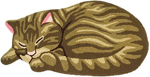 ABREEZE Brown Tabby Cat Floor Mat for Pet Cute Sleeping Cat Shaped Bedroom Area Rug