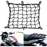 "JCHL 15""x15"" Motorcycle Cargo Net Stretches to 30""x30"" with 6 Hooks 2''x2'' Mesh for Motorcycle Motorbike Bikes"
