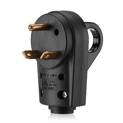 30 Amp Rv Plug >> Amazon Com Miady 30amp Rv Replacement Male Plug With Easy Unplug