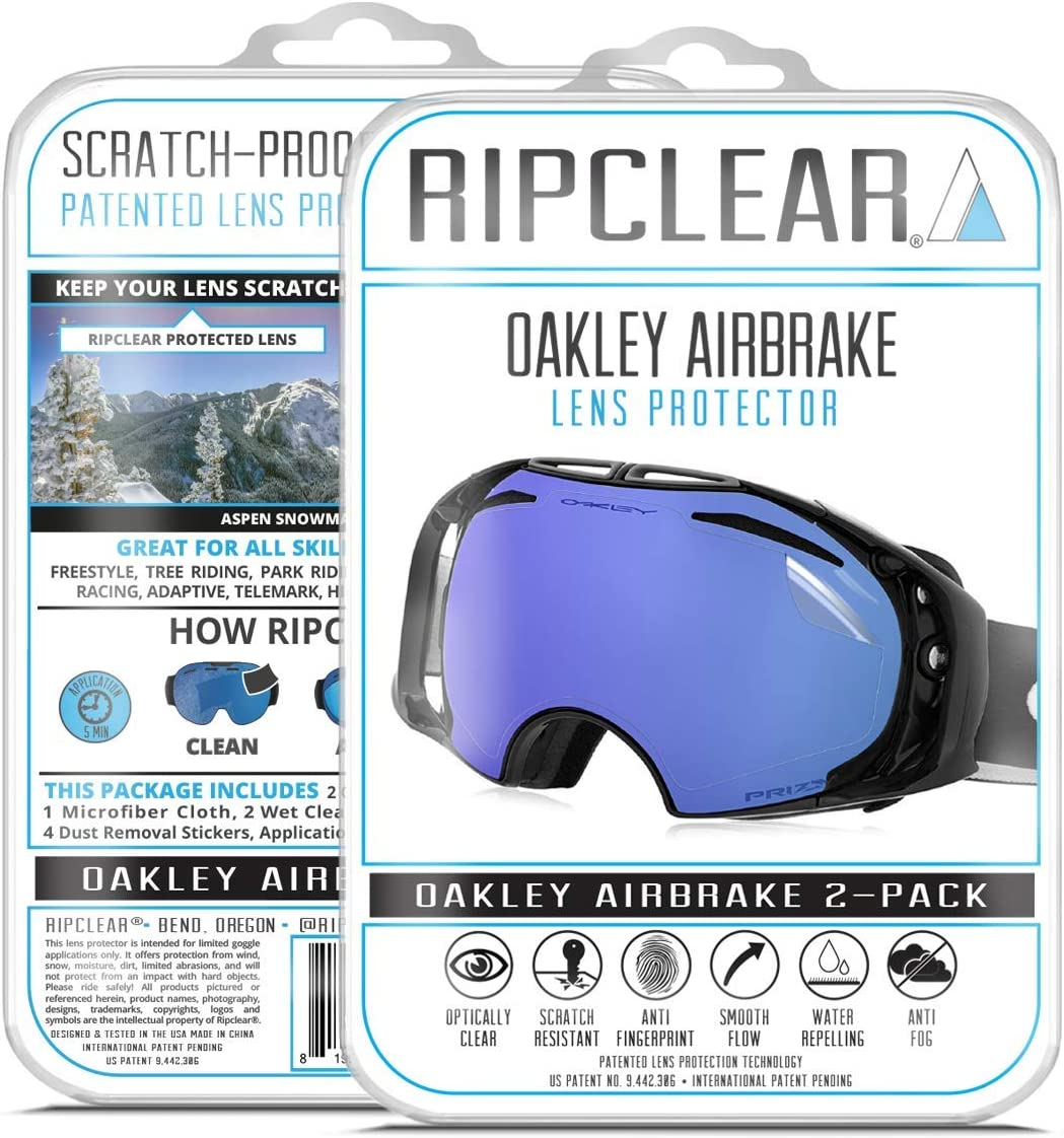 RIPCLEAR Lens Protector for Oakley Airbrake Goggles - Protect Your Lens from Scratches While You Ride, Crystal Clear USA Military Grade Protection, 2 Pack