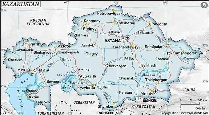 Kasachstan Politische Karte (91,4 cm W x 50,5 cm H): Amazon.de ...