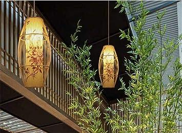 Luz Colgante de Techo Lámpara de araña clásica de bambú ...