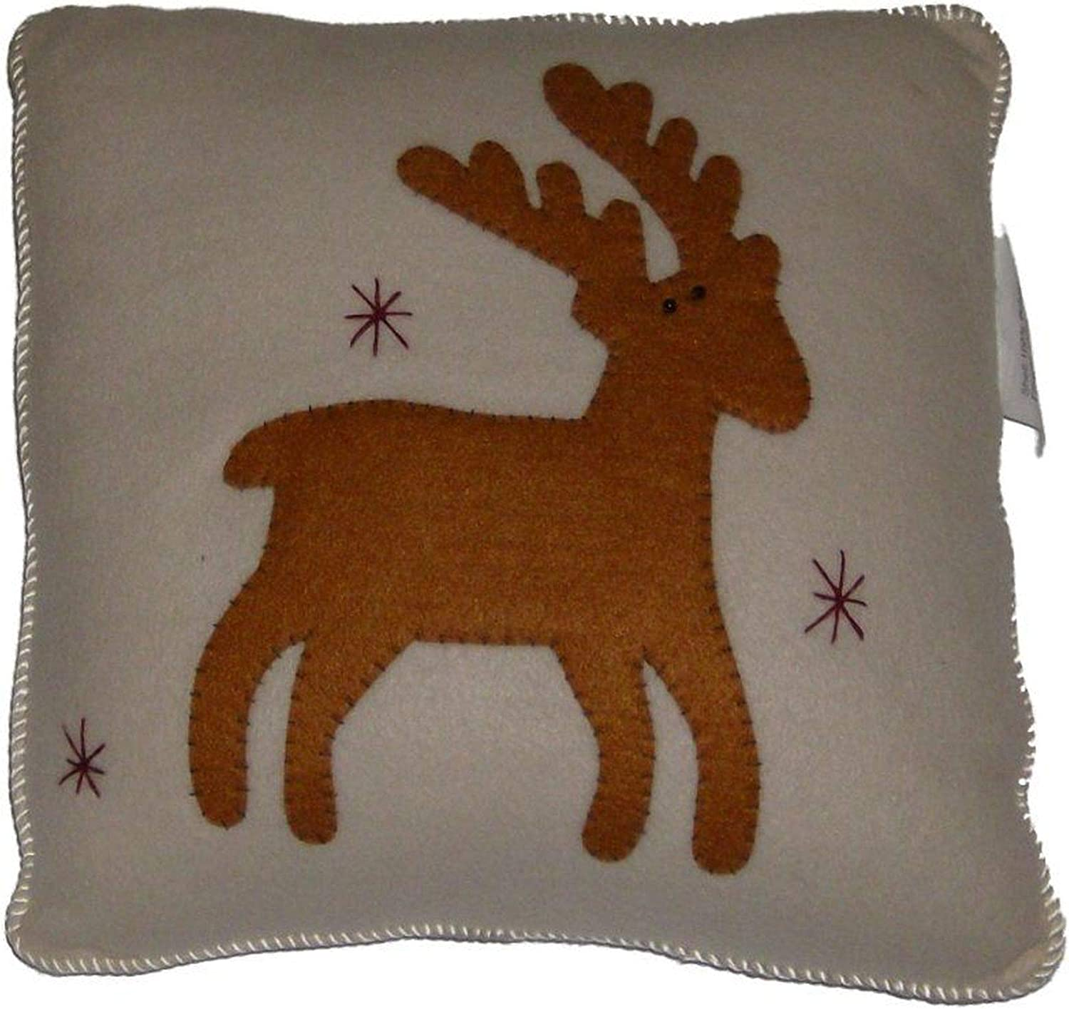 NorthCrest Home Applique Reindeer Throw Pillow Holiday Toss Accent Cushion
