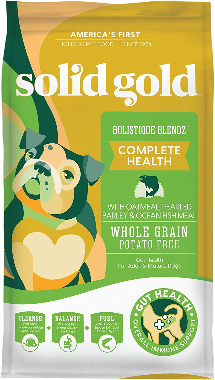 Solid Gold - Holistique Blendz - Natural Senior Dog Food for Sensitive Stomachs - Oatmeal, Pearled Barley and Fish Meal - Potato Free - Dry Dog Food