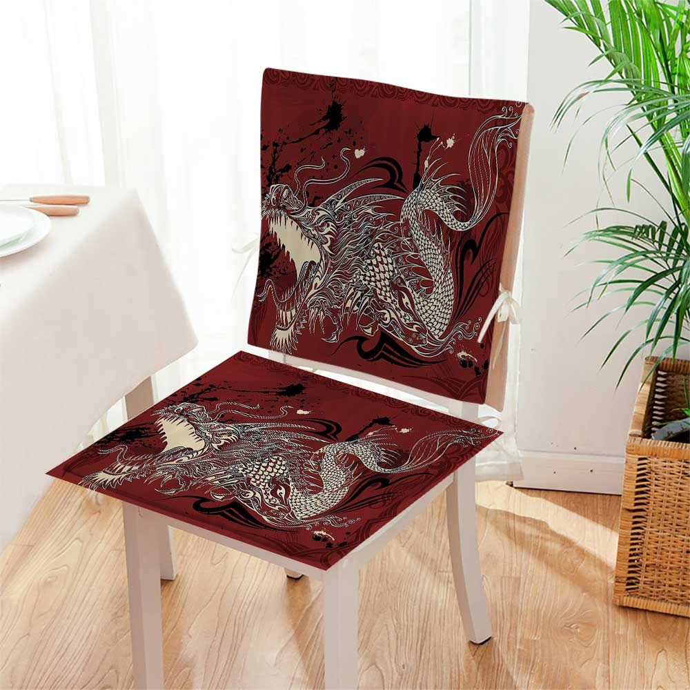 2 piece set chair seat pads eangry drag doodle grunge background japanese mythology eastern ethereal patter dining garden patio matw17 x h17 backrestw17 x