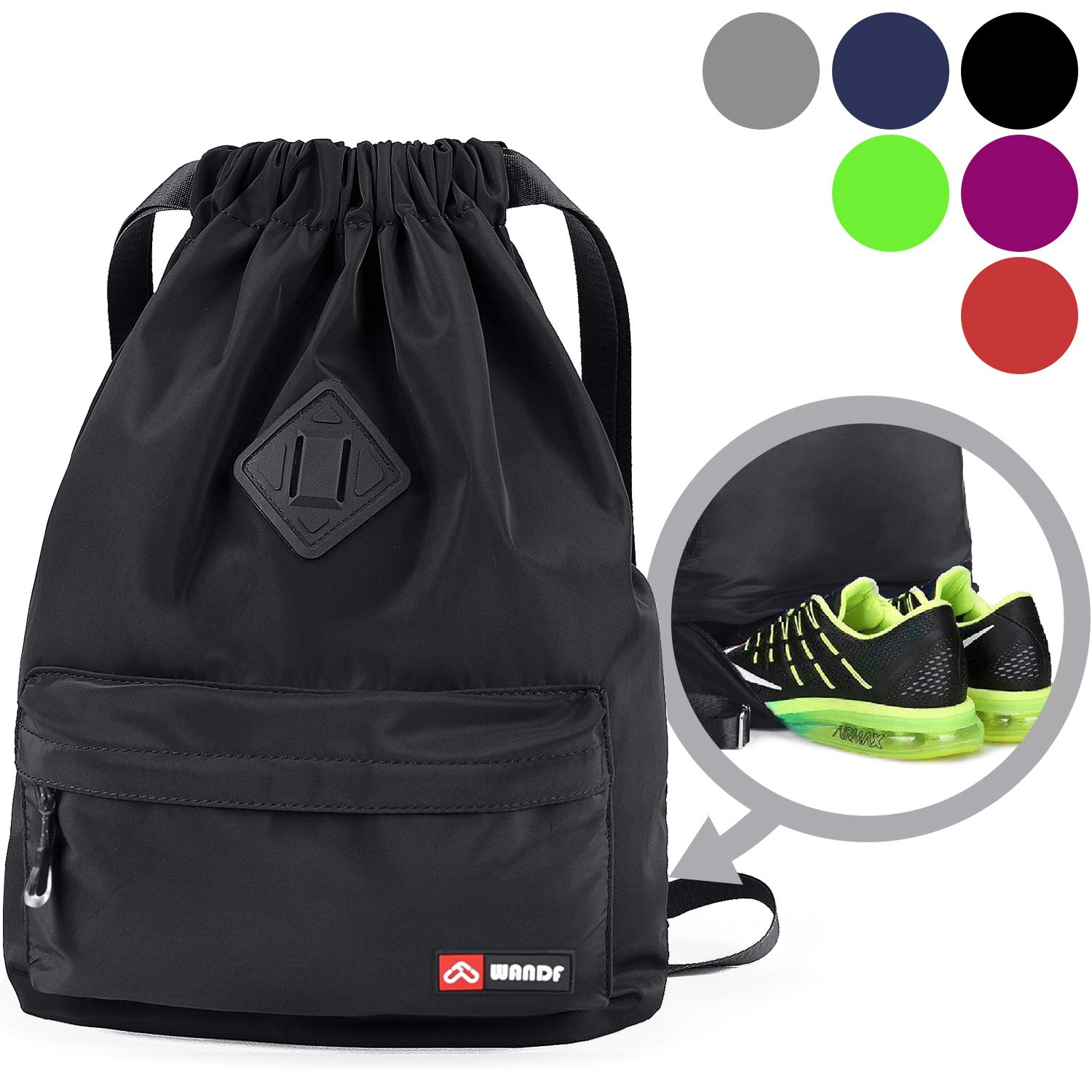 Drawstring Backpack with Shoe Compartment, Gym Sackpack Cinch Water Resistant Nylon Bag for Shopping Sport Yoga by WANDF (Black)