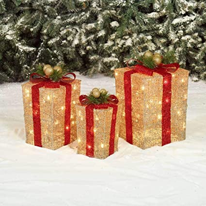 holiday home set of 3 lighted gold gift boxes presents outdoor christmas yard decoration - Lighted Christmas Yard Decorations
