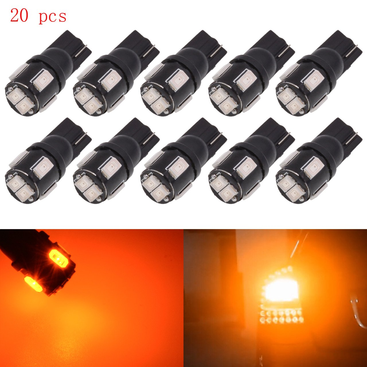 KaTur 10pcs T10 LED Bulb Super Bright 450 Lumens 168 194 2825 175 921 912 LED Light 5630 6SMD Interior Map Lights Trunk Cargo Lights Courtesy Corner Side Marker LEd Lights 2W 12V 6000K Red