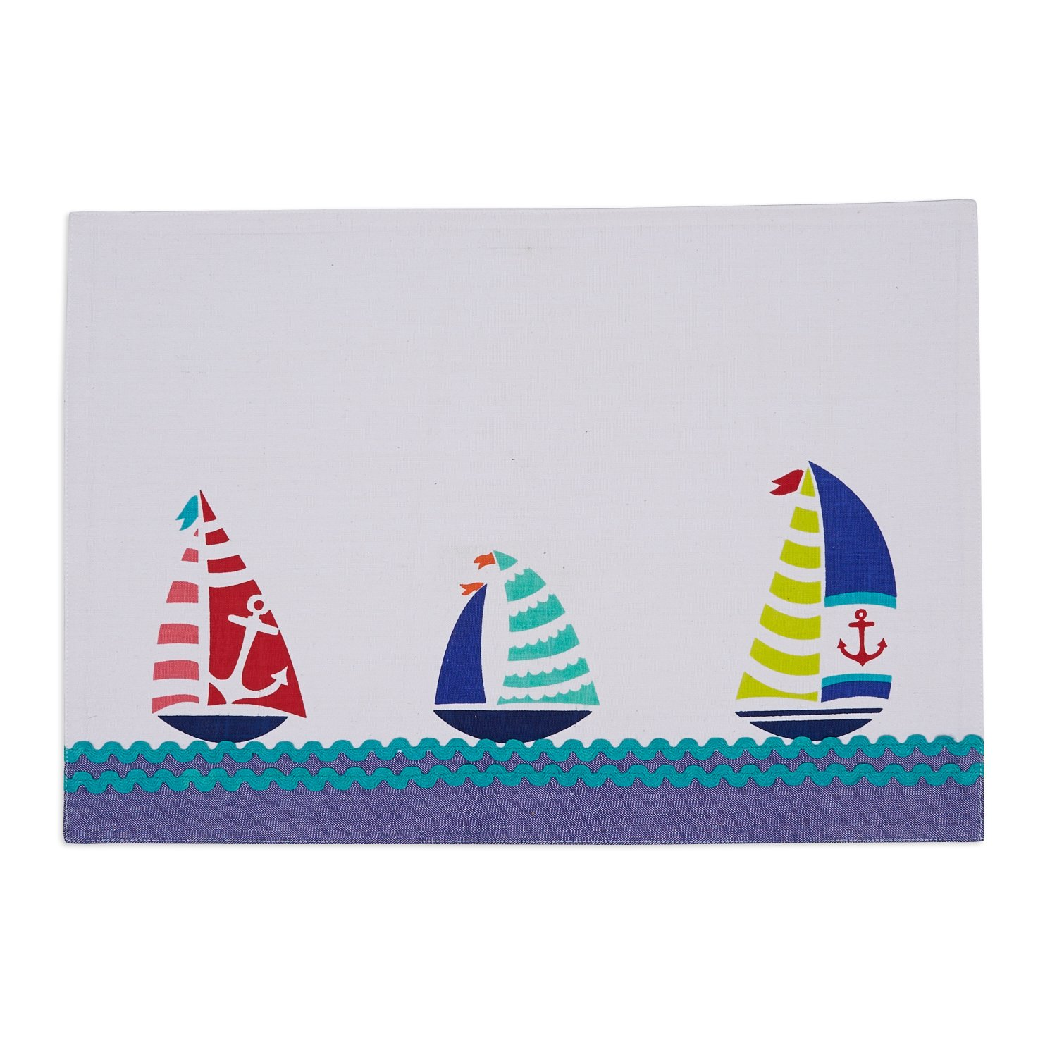 DII 100% Cotton, 13x 19 Everyday Basic Placemat Set of 6, 13x19, Sailboats Embroidered