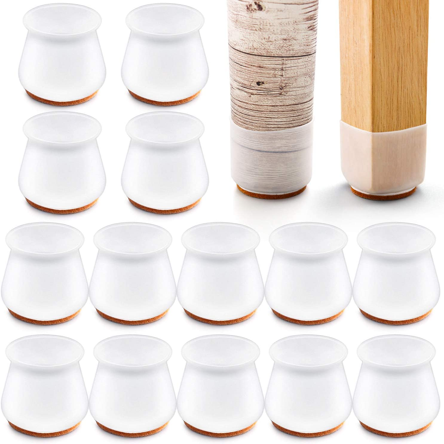 24 PCS Silicone Chair Leg Protectors with Felt for Hardwood Floors, mikede Silicone Furniture Leg Cover Pad for Protecting Floors from Scratches and Noise, Smooth Moving for Chair Feet.