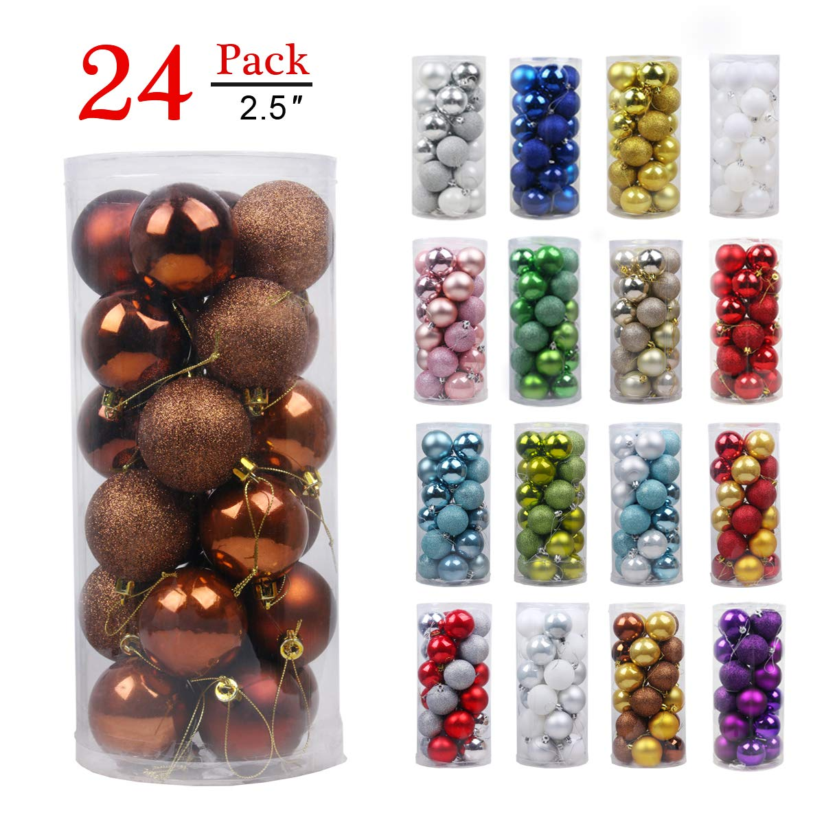 Christmas Balls Ornaments for Xmas Tree-Shatterproof Christmas Tree Decorations Large Hanging Ball Bronze 2.5''