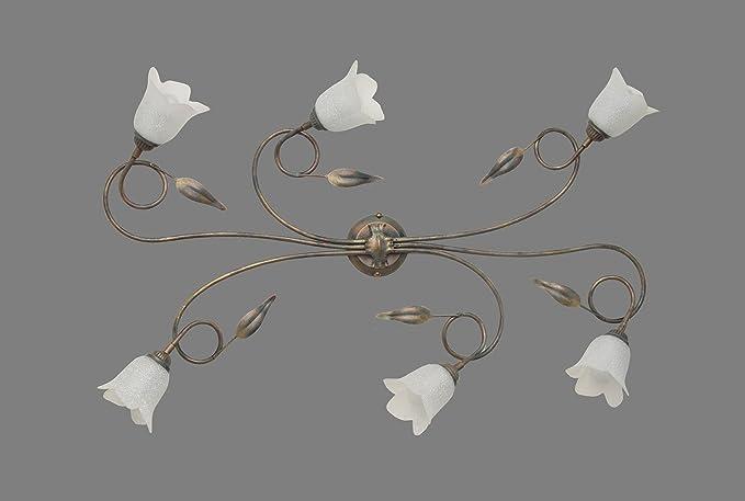 Plafoniera Ferro Battuto Nero : Made in italy plafoniera lampada a soffitto ferro battuto