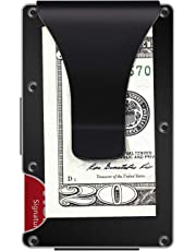 Aluminum Metal Wallet Front Pocket Minimalist Wallet & Money Clip Slim Wallet RFID Blocking (Black)