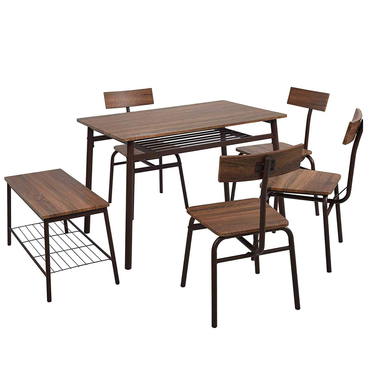 KARMAS PRODUCT 6 Piece Wooden Dining Table Set W/4 Chairs & 1 Bench Retro Style Home Kitchen Breakfast Furniture,Brown