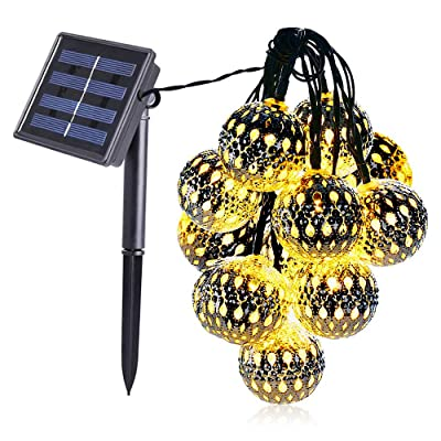 Dephen LED Solar String Lights, 20 Moroccan Balls Warm White, 15ft LED Fairy String Lights, Solar Powered Lantern, Christmas Strand Lighting for Outdoor Camping,Garden,Yard,Patio,Party,Home Decoration: Home Improvement