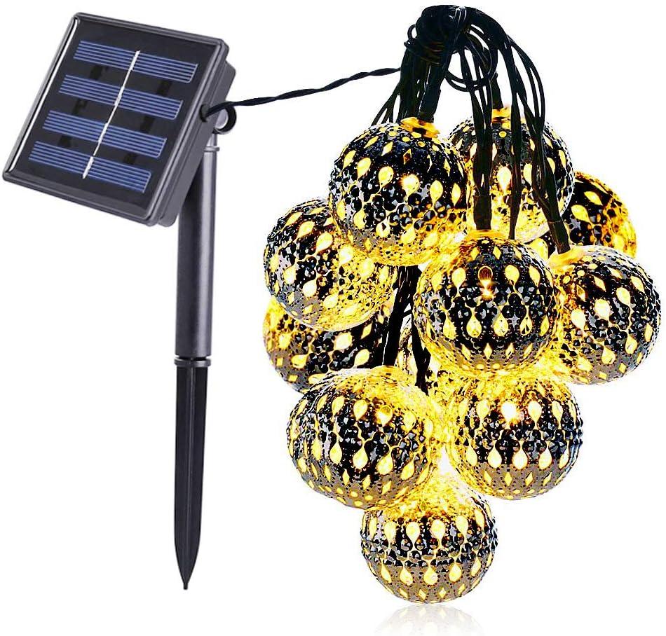 50 LED Moroccan Solar Garden String Lights Hanging Lantern Fairy Lights Outdoor