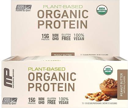 Muscle Pharm - Barra de proteína orgánica basados en la planta de cacahuate - 12 Bares