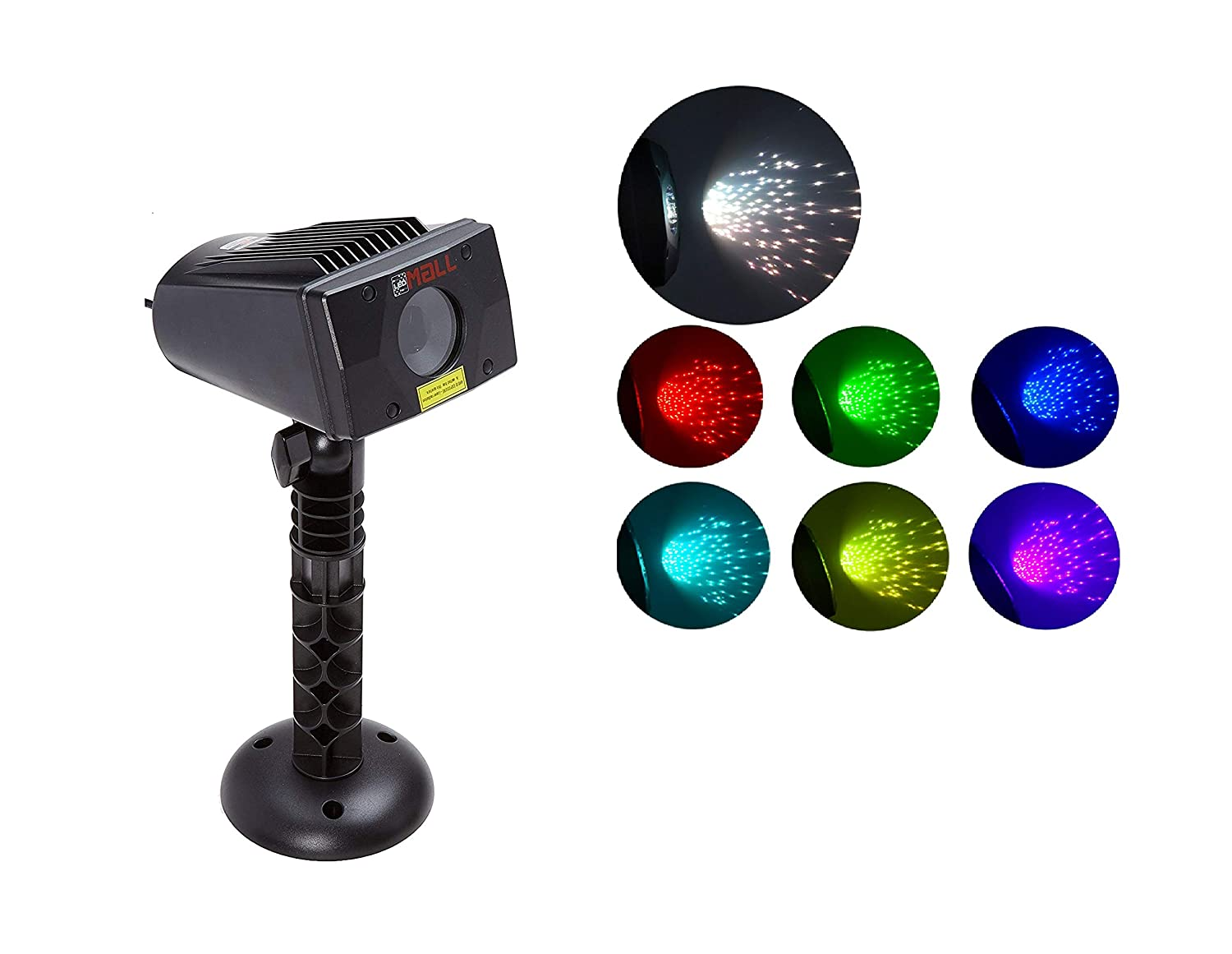 LedMAll® Full Spectrum Motion Star Effects 7 Color with White Laser Christmas Lights, and White Laser Decorative Lights with Remote Control