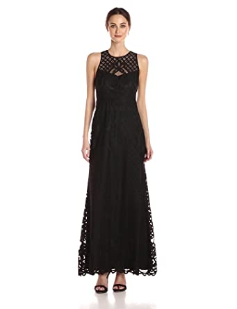 52bb8e8922 Vera Wang Women s Sleeveless Lace Gown with Illusion Neckline at ...