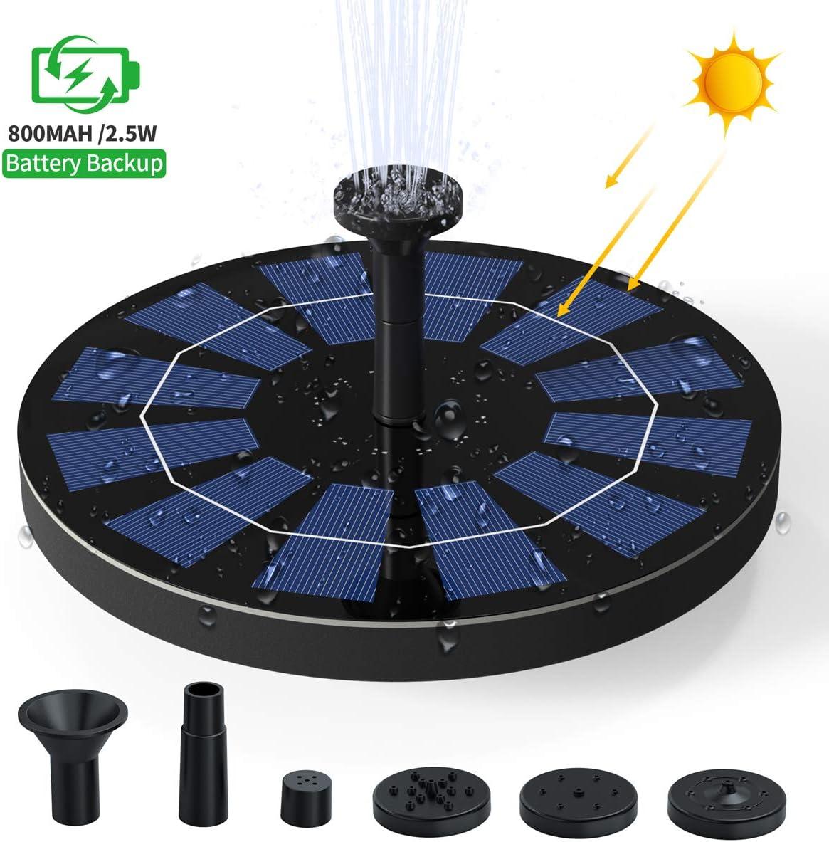 Ankway Bomba de fuente de energía solar Bomba solar para baño de aves de 2.5W Bomba flotante para fuente de agua nuevo modelo Sumergible con respaldo de batería para fuente, piscina, jardín, estanque
