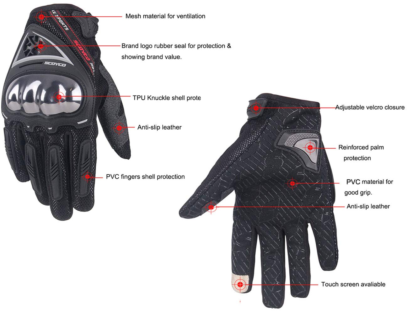 SCOYCO Men's Race Extreme Sports Protective Outdoor Motorcycle Gloves(Black,XL) by SCOYCO (Image #2)