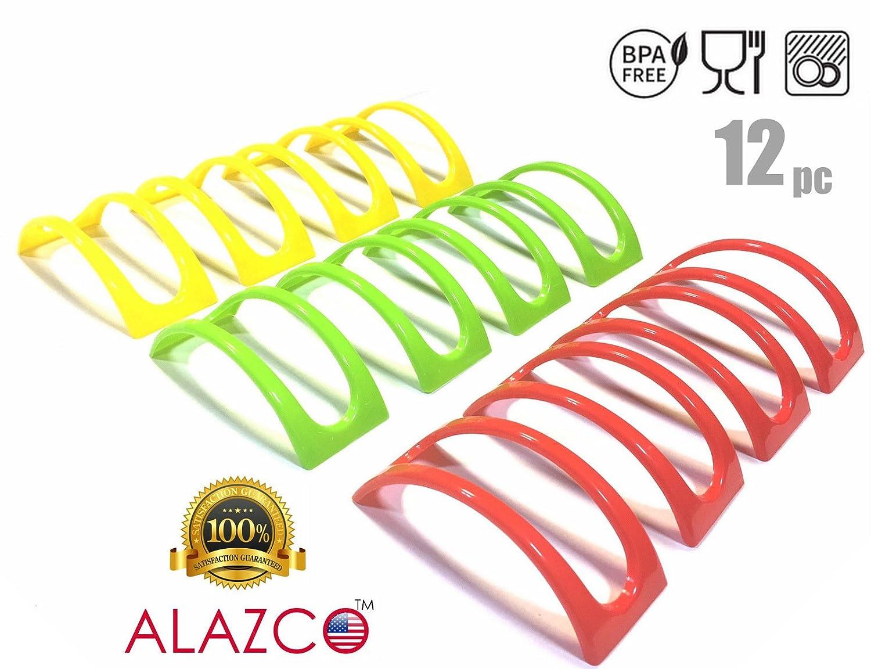 8pc ALAZCO Taco Holder Stand Server - For Soft & Hard Shell Taco - Backyard Party Picnic Fiesta AZ8TS