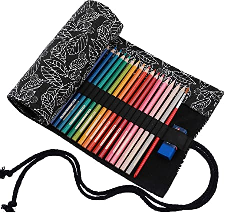 abaría - Estuche Enrollable para 72 lápices Colores, portalápices de Lona - Hoja Negra (no Tiene lápices): Amazon.es: Hogar